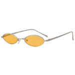 Oval Ultra Thin Small Slim Skinny Narrow Silver Metal Sunglasses Yellow Lens