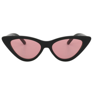 Vintage Cat Eye Narrow Slim Sunglasses Pink Lens Goggles Black Plastic Frame