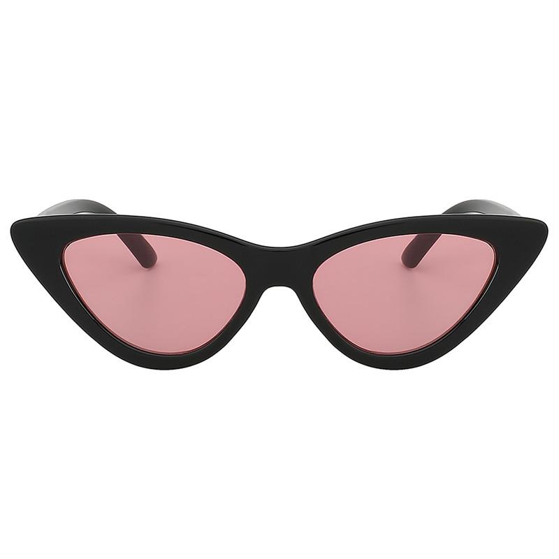 Vintage Cat Eye Narrow Slim Sunglasses Pink Lens Goggles Black Plastic Frame