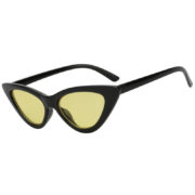 Vintage Cat Eye Narrow Slim Sunglasses Yellow Lens Goggles Black Plastic Frame