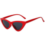 Retro Vintage Cat Eye Narrow Slim Glasses Smoke Lens Goggles Red Plastic Frame