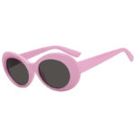 Retro Oval Goggles Thick Plastic Baby Pink Frame Round Lens Sunglasses Smoke