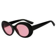 Retro Oval Goggles Thick Plastic Black Frame Round Lens Sunglasses Pink