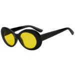 Retro Oval Goggles Thick Plastic Black Frame Round Lens Sunglasses Yellow