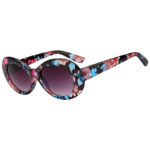 Retro Oval Goggles Thick Plastic Frame Flowers Round Lens Sunglasses