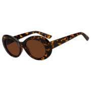 Retro Oval Goggles Thick Plastic Leopard Frame Round Lens Sunglasses Brown
