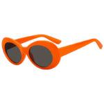 Retro Oval Goggles Thick Plastic Orange Frame Round Lens Sunglasses Smoke