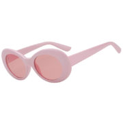 Retro Oval Goggles Thick Plastic Frame Round Lens Sunglasses Pink