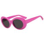 Retro Oval Goggles Thick Plastic Pink Frame Round Lens Sunglasses Smoke