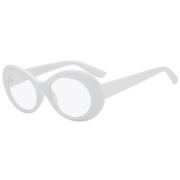 Retro Oval Goggles Thick Plastic White Frame Round Lens Sunglasses Clear