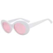 Retro Oval Goggles Thick Plastic White Frame Round Lens Sunglasses Light Pink