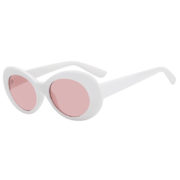 Retro Oval Goggles Thick Plastic White Frame Round Lens Sunglasses Pink