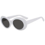 Retro Oval Goggles Thick Plastic White Frame Round Lens Sunglasses Smoke