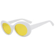 Retro Oval Goggles Thick Plastic White Frame Round Lens Sunglasses Yellow