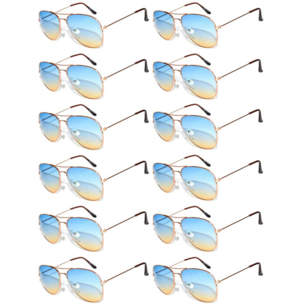 550c60fb1da31 Case of 12 Pairs Aviator Sunglasses Two Tone Blue Yellow Lens Gold Metal  Frame