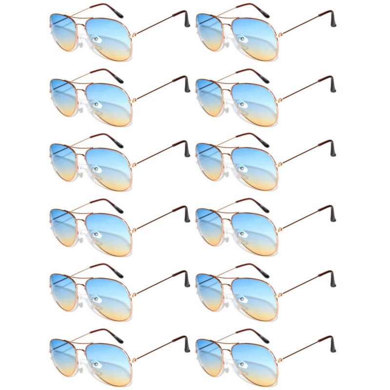 b55cb1c149a 064 – 12 Pieces Wholesale Aviator Sunglasses Two Tone Color Lens Gold Metal  Frame
