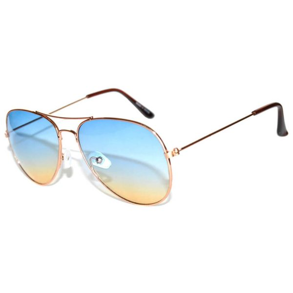 d5de72be0f6bb ... Aviator Style Sunglasses Two Tone Shades Blue Yellow Lens Gold Metal  Frame ...
