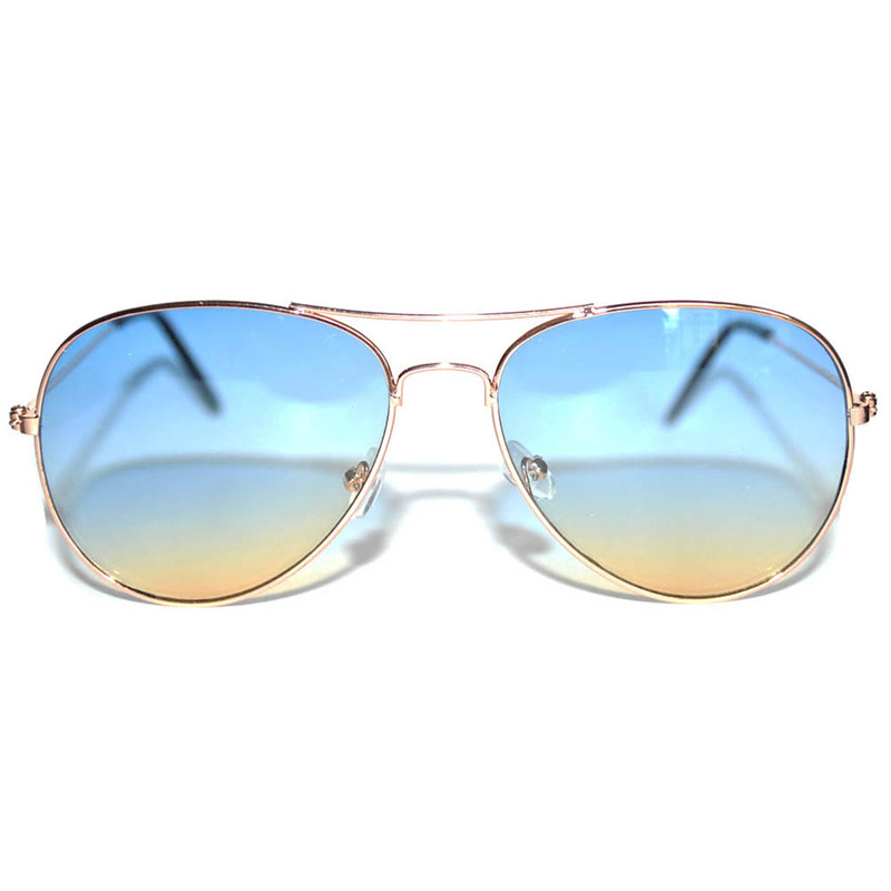 Aviator Style Sunglasses Two Tone Shades Blue Yellow Lens Gold Metal Frame