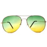 12 Pairs Wholesale Aviator Sunglasses 2 Tone Green Yellow Lens Gold Metal Frame
