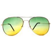 12 Pairs Wholesale Aviator Sunglasses 2 Tone Green Yellow Lens Gold Metal Frame