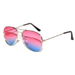 Aviator Style Sunglasses Two Tone Shades Pink Blue Lens Gold Metal Frame
