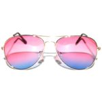 12 Pieces Bulk of Aviator Sunglasses Two Tone Pink Blue Lens Gold Metal Frame