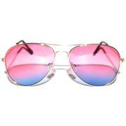 12 Pieces Bulk of Aviator Sunglasses Two Tone Pink Blue Lens Gold Metal Frame