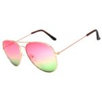 Colored Aviator Style Sunglasses 2 Tone Shades Pink Green Lens Gold Metal Frame