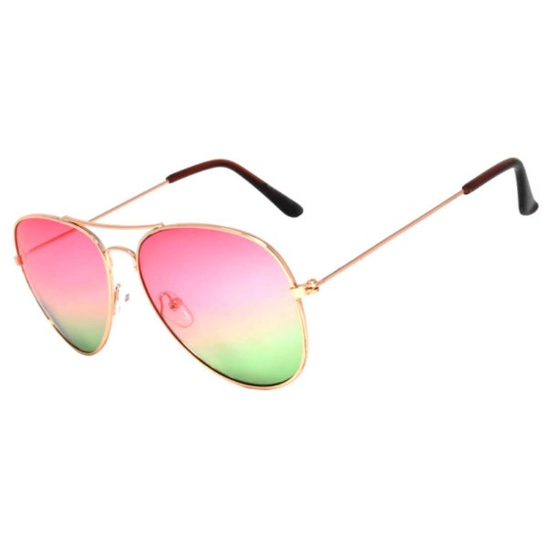 a48feaf4acc8e ... Colored Aviator Style Sunglasses 2 Tone Shades Pink Green Lens Gold  Metal Frame · Classic Aviator Sunglasses Two ...