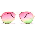 12 Pack Wholesale Aviator Glasses 2 Tone Pink Green Lens Gold Metal Frame