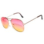 Classic Aviator Sunglasses Two Tone Shades Pink Yellow Lens Gold Metal Frame