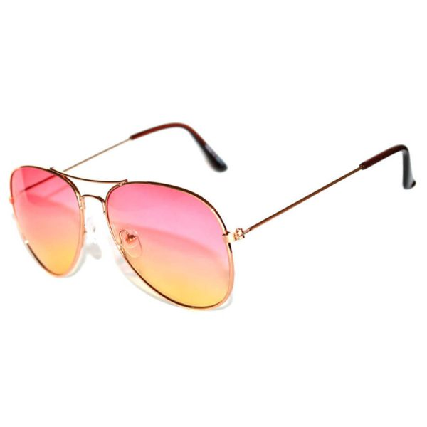 454f91433b5f7 ... Classic Aviator Sunglasses Two Tone Shades Pink Yellow Lens Gold Metal  Frame · Aviator Style ...
