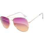Aviator Style Sunglasses Tinted Lens Shades Purple Yellow Lens Gold Metal Frame