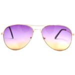 12 Pack Wholesale Aviator Sunglasses 2 Tone Purple Yellow Lens Gold Metal Frame