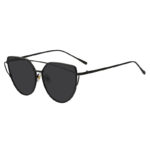 Black Oversized Cat Eye Metal Twin Beam Frame Sunglasses Flat Smoke Lens