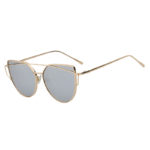 Gold Oversized Cat Eye Metal Twin Beam Frame Sunglasses Mirrored Flat Lens
