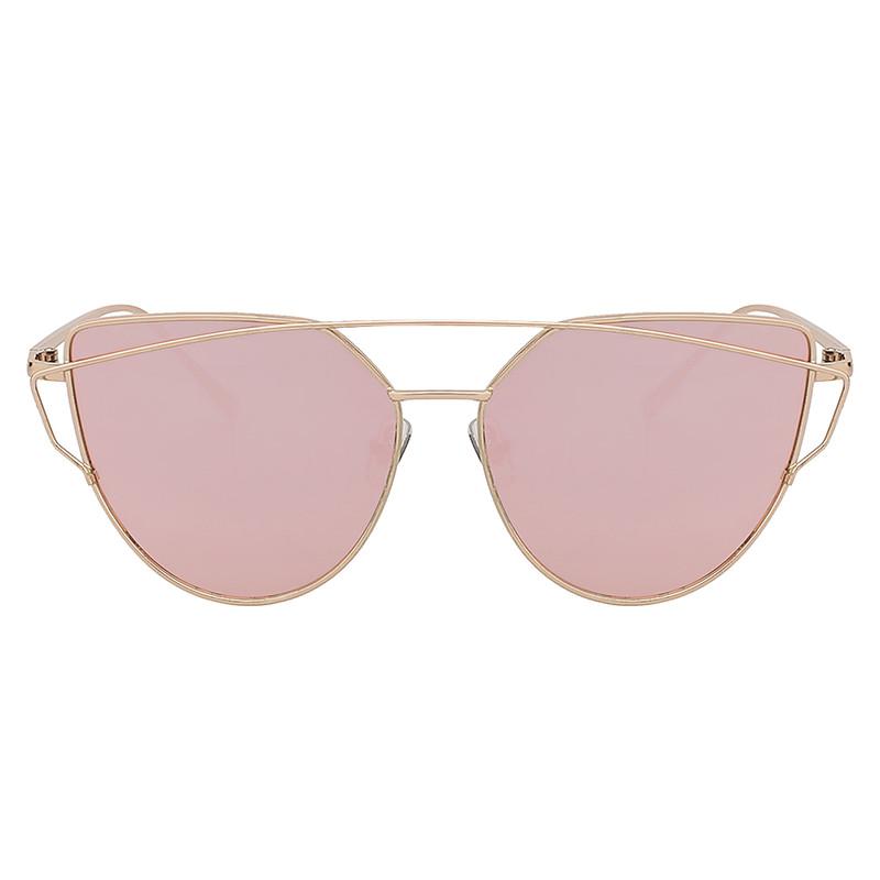 Gold Large Cat Eye Metal Twin Beam Frame Sungles Flat Mirror Rose Lens