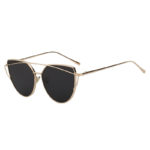 Gold Oversized Cat Eye Metal Twin Beam Frame Sunglasses Smoke Flat Lens