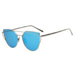 Silver Large Cat Eye Metal Twin Beam Frame Sunglasses Blue Mirror Flat Lens