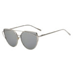 Silver Oversized Cat Eye Metal Twin Beam Frame Sunglasses Mirror Flat Lenses