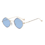 Women Geometrical Shape Vintage Blue Lens Sunglasses Gold Metal Frame