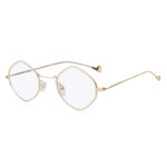 Women Polygon Shape Vintage Clear Lens Sunglasses Gold Metal Frame