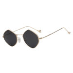 Women Polygon Shape Fashion Smoke Lens Sunglasses Gold Metal Frame