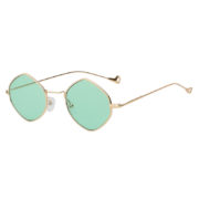 Women Hexagon Shape Stylish Green Lens Sunglasses Gold Metal Frame