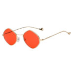 Women Polygon Shape Vintage Red Lens Sunglasses Gold Metal Frame