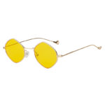 Women Hexagon Shape Vintage Yellow Lens Sunglasses Gold Metal Frame