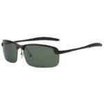 Stylish Ultra Light Rectangular Black Metal Frame Glasses Polarized Green Lens