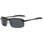Men Ultra Light Rectangular Black Metal Frame Sunglasses Polarized Smoke Lens