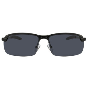 Men Ultra Light Rectangular Black Metal Frame Sunglasses Polarized Smoke Lens