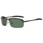 Stylish Ultra Light Rectangular Gun Metal Frame Sunglasses Polarized Green Lens